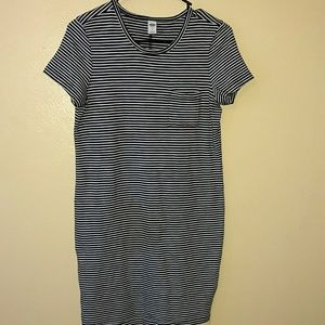 Old navy blue and white striped dress sp